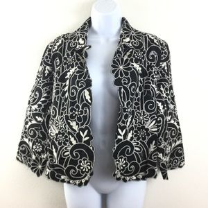CHICOS 1 LINEN BLEND EMBROIDERED FLORAL JACKET